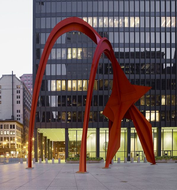 "Sculpture ""Flamingo"" at Federal Center Plaza, John C. Kluczynski Federal Building, Chicago, Illinois"