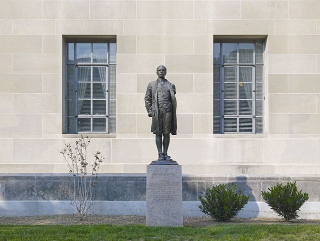 """Sculpture """"Nathan Hale"""" located at exterior, Department of Justice, Constitution Ave., Washington, D.C."""