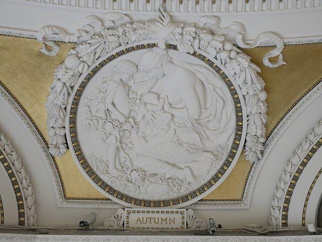 [Second Floor, Northwest Pavilion. Circular relief of Autumn by Bela L. Pratt. Library of Congress Thomas Jefferson Building, Washington, D.C.]