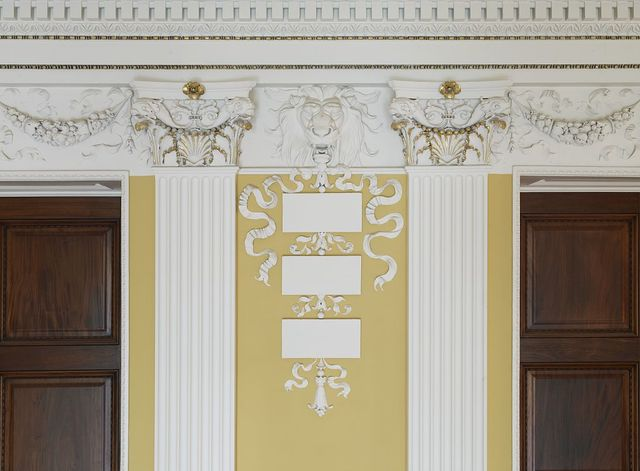 [Second Floor, Northwest Pavilion. View of frieze showing carved lion's heads and pilaster capitals. Library of Congress Thomas Jefferson Building, Washington, D.C.]