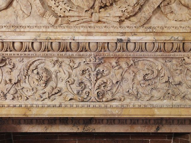 [Senate Members Room. Detail of carved cornice of the Siena marble fireplace. Library of Congress Thomas Jefferson Building, Washington, D.C.]