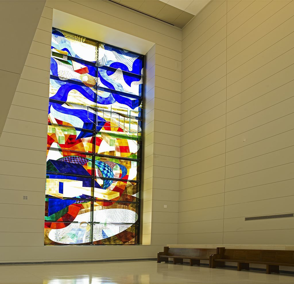 Untitled art glass window located at the top of staircase, U.S. Courthouse, Orlando, Florida