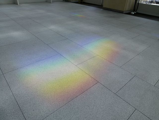 "View of solar color on floor at sculpture ""Solar Spectrum"" at the Sam Gibbons U.S. Courthouse, Tampa, Florida"