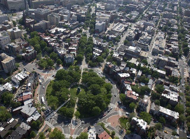Aerial view of Logan Circle, Washington, D.C.