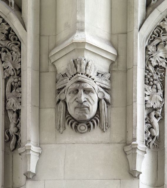 Architectural detail of Cass Gilbert's Woolworth Building, New York, New York