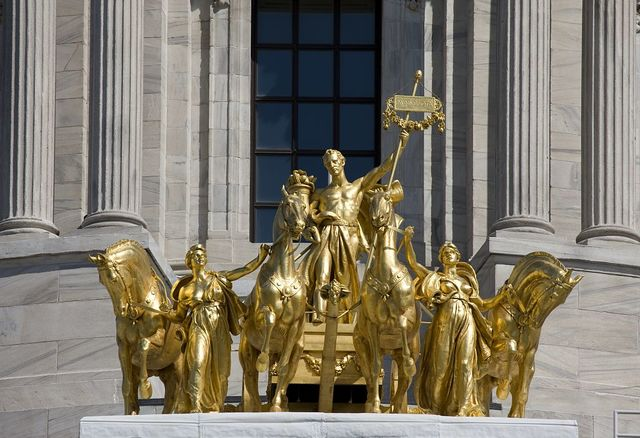 """Guilded quadriga """"The Progress of the State"""" sculpted by Daniel Chester French, Minnesota Capitol building, St. Paul, Minnesota"""