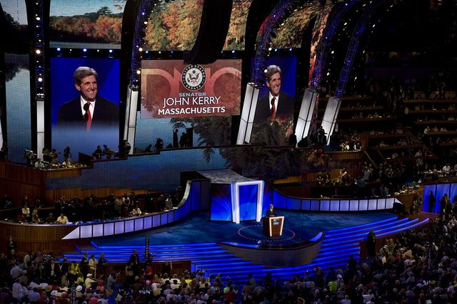 Massachusetts Senator John Kerry speaks to the audience at the Democratic National Convention, Denver, Colorado, August 25-28, 2008