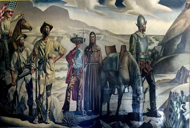 """Painting """"O Pass of the North Now the Old Giants Are Gone We Little Men Live Where Heros Once Walked Inviolate Earth"""" El Paso, Texas"""