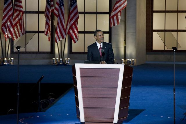 Presidential candidate Barack Obama speaks to the audience at the Democratic National Convention, Denver, Colorado, August 25-28, 2008