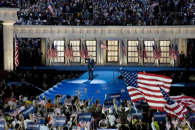 Presidential candidate Barack Obama waves to the audience at the Democratic National Convention, Denver, Colorado, August  25-28, 2008