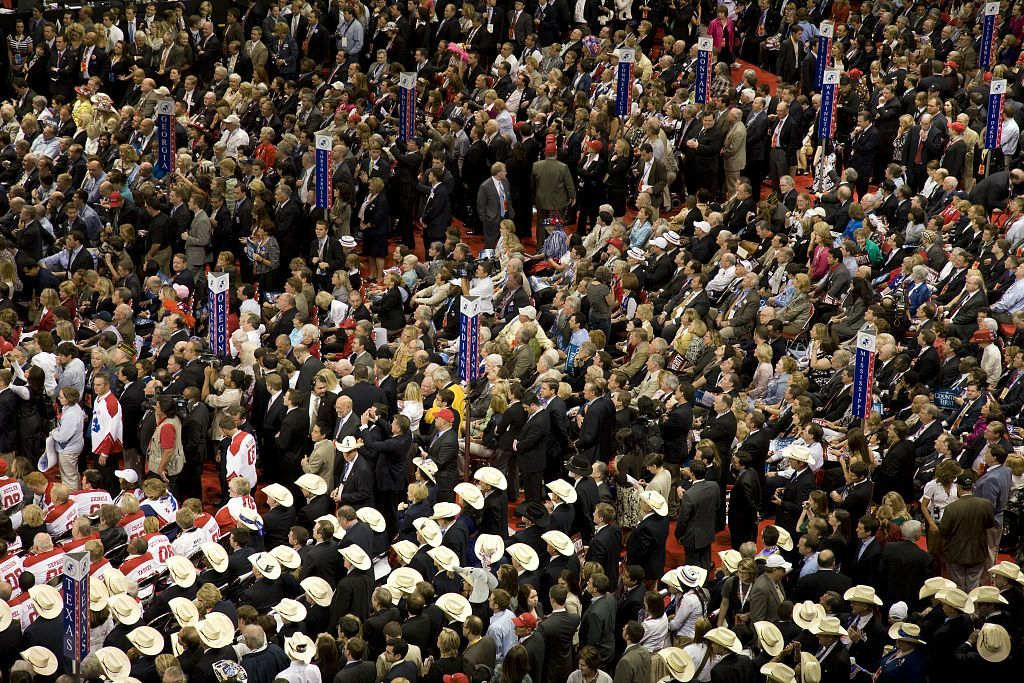 Republican National Convention, September 1-4, 2008. Republicans gather to listen to speeches at Xcel Center, St. Paul, Minnesota
