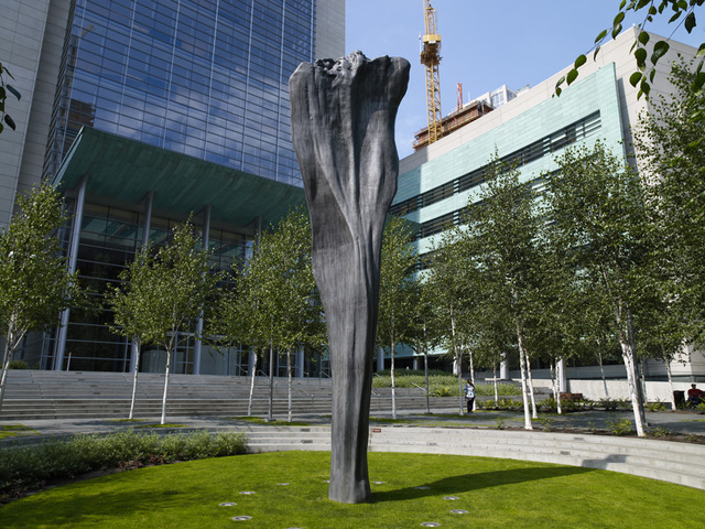 """Sculpture """"Pillar Arc"""" located at the exterior of the U.S. Courthouse, Seattle, Washington"""