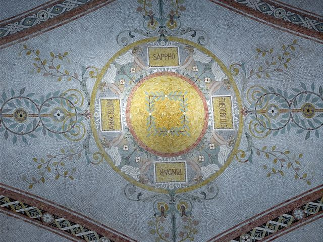 [South Corridor, First Floor. Mosaic in the ceiling vault with the names of ancient lyric poets: Theocritus, Pindar, Anacreon, and Sappho. Library of Congress Thomas Jefferson Building, Washington, D.C.]