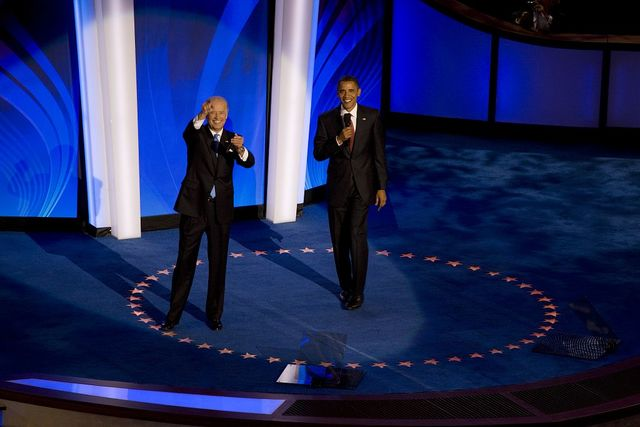 Vice-Presidential candidate Joe Biden and Presidential candidate Barack Obama speak to the audience at the Democratic National Convention, Denver, Colorado, August 25-28, 2008