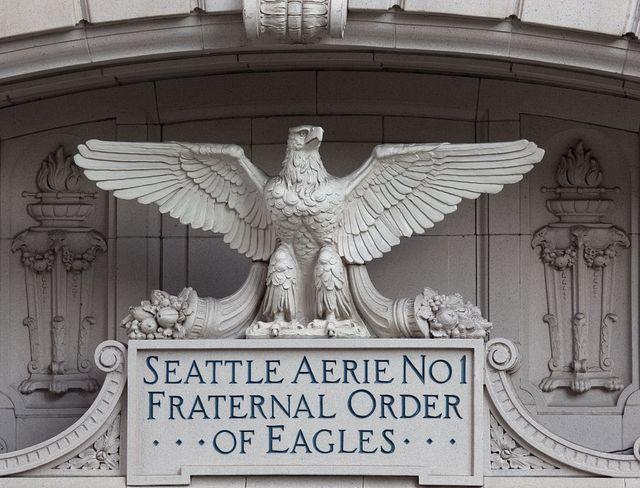 Aerie No. 1, Fraternal Order of Eagles building detail, Seattle, Washington