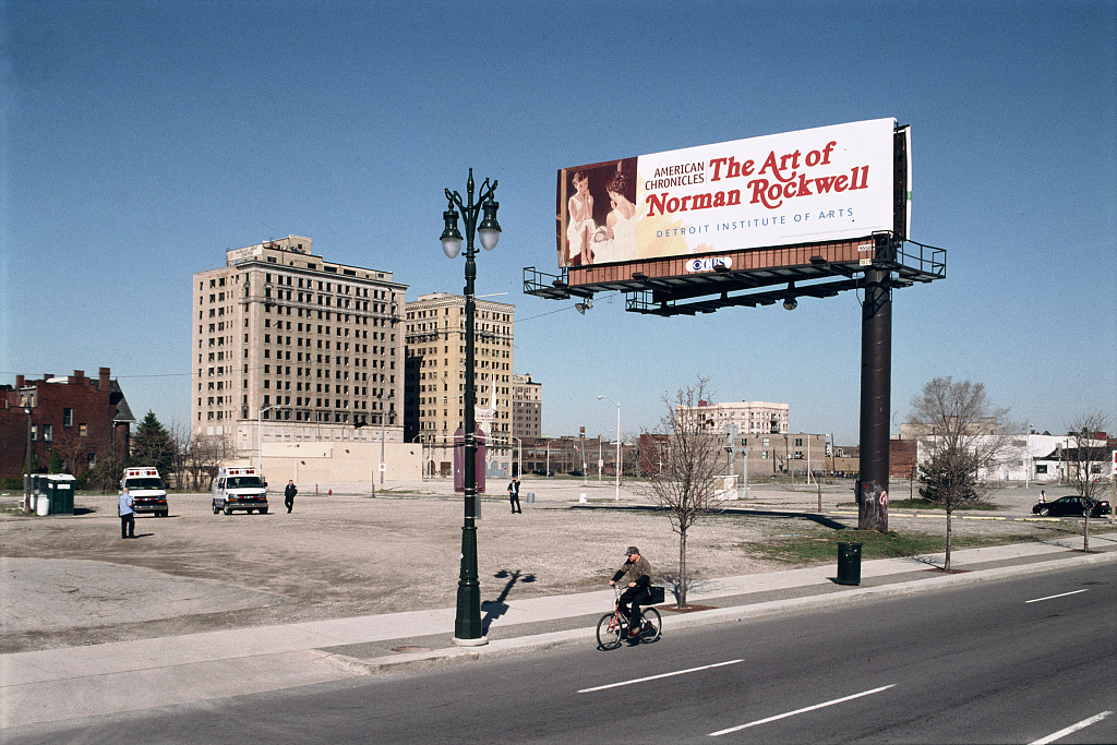 American Chronicles sign, view NW from Woodward Ave. at Sibley, Detroit, 2009