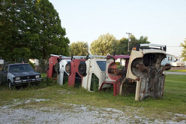 Cars buried in the ground, Route 66 at Henry's Rabbit Ranch, Staunton, Illinois