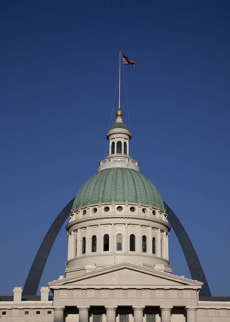 City Hall, with Arch in background, St. Louis, Missouri