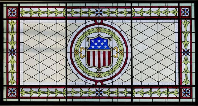 Courtroom one stained glass, James R. Browning U.S. Court of Appeals Building, San Francisco, California