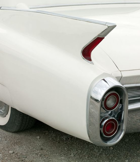 Detail of classic Cadillac car, Country Classic Cars, Route 66 in Staunton, Illinois