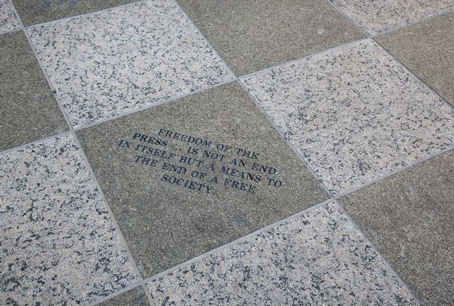 Etched stone at the Robert T. Matsui U.S. Courthouse, Sacramento, California