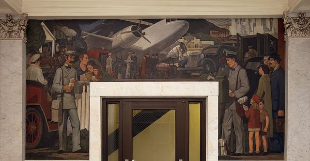 Grant Wright Christian oil painting, Birch Bayh Federal Building, Indianapolis, Indiana