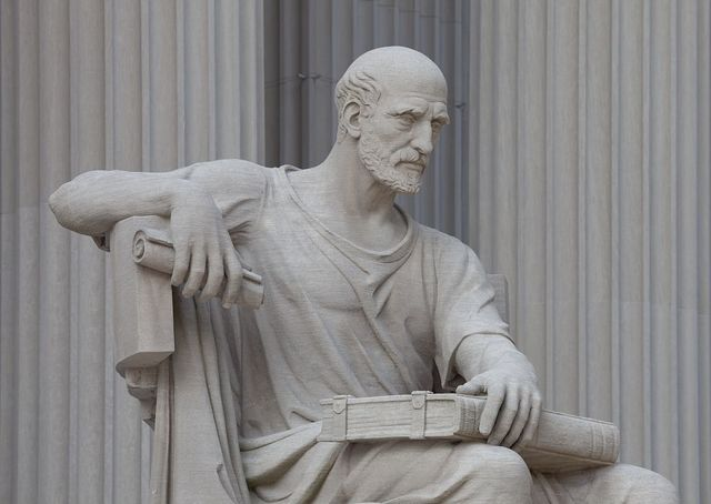 """National Archives, statue of old man with a scroll and closed book entitled """"Study the Past,"""" Washington, D.C."""