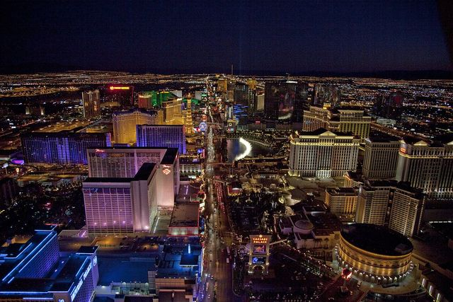 Night aerial view, Las Vegas, Nevada