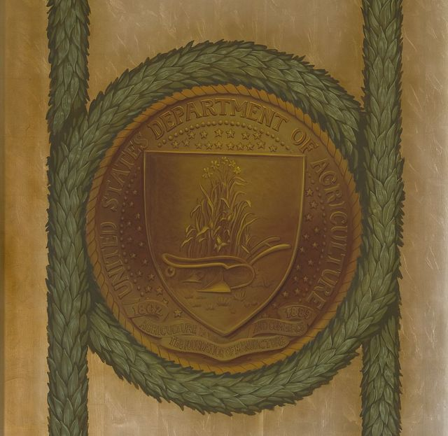 [Northeast Pavilion, The Pavilion of the Seals. Department of Agriculture seal. Library of Congress Thomas Jefferson Building, Washington, D.C.]