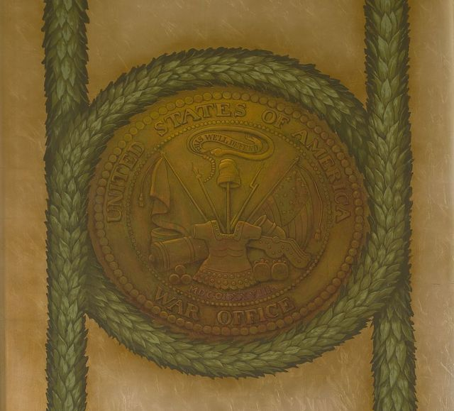 [Northeast Pavilion, The Pavilion of the Seals. Mural of War Office seal. Library of Congress Thomas Jefferson Building, Washington, D.C.]