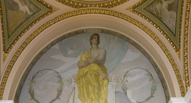 [Northwest Corridor, First Floor. Mural depicting the muse Euterpe (Lyric Poetry, Mistress of Song), by Edward Simmons. Library of Congress Thomas Jefferson Building, Washington, D.C.]