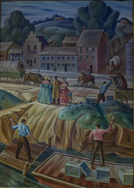 "Painting ""Town of Kansas"" at the Charles Evans Whittaker U.S. Courthouse, Kansas City, Missouri"