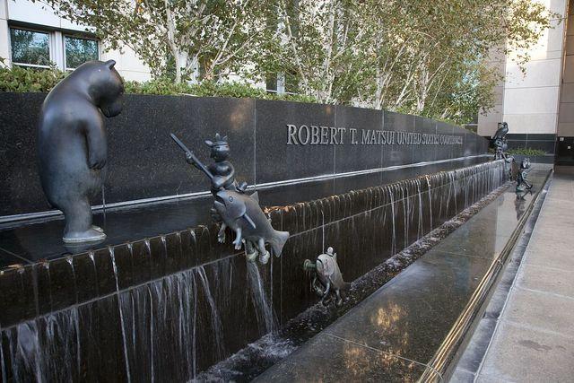 "Sculpture ""Gold Rush"" at the Robert T. Matsui U.S. Courthouse, Sacramento, California"