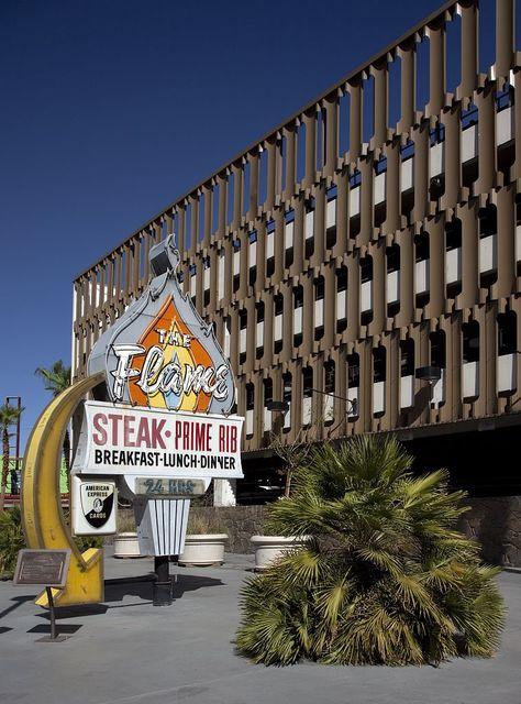 The Flame Restaurant sign from the historic Las Vegas Neon Museum, Freemont Street, Las Vegas, Nevada