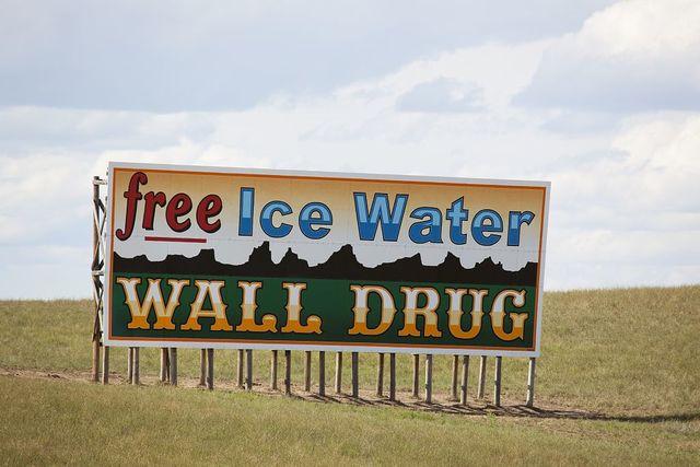 "Wall Drug billboard: ""Free Ice Water,"" Wall, South Dakota"