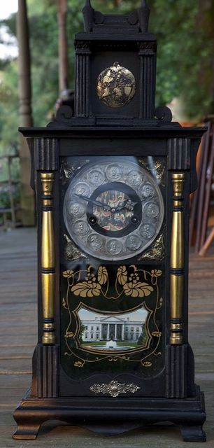 A clock that depicts African Americans and Booker T. Washington in a degrading light, found in a box of antiques linked to Booker T. Washington and Frances Benjamin Johnston, in Cordova, Alabama