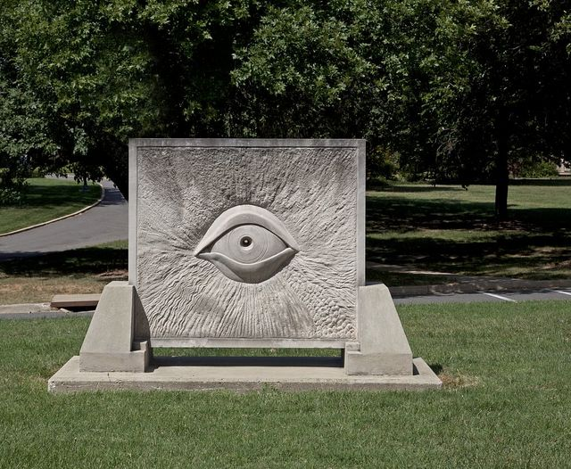 "Abelardo Parra Jimenez' stone sculpture ""Universal Knowledge,"" located between 6th and 9th St. near College Hall at Gallaudet University, NE, Washington, D.C."