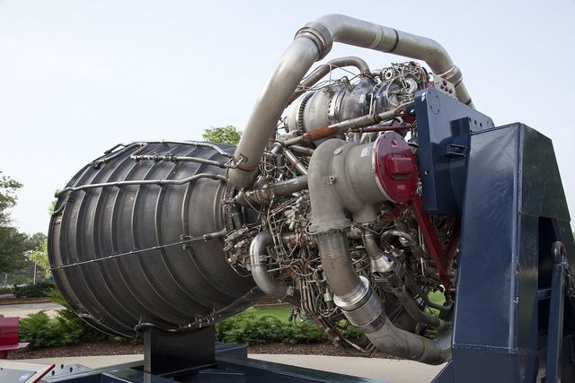 An exhibit of the F-1 engine used in the space shuttle at the George C. Marshall Space Flight Center at Redstone Arsenal, Huntsville, Alabama