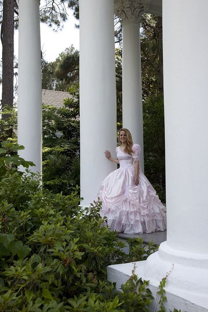 Andrea Michelle Pittman stands in front of the Shorter Mansion, Eufaula, Alabama