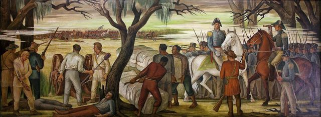 """""""Andrew Jackson at the Battle of New Orleans, January 8, 1814,"""" mural by Ethel Magafan, at the Recorder of Deeds building, built in 1943. 515 D St., NW, Washington, D.C."""