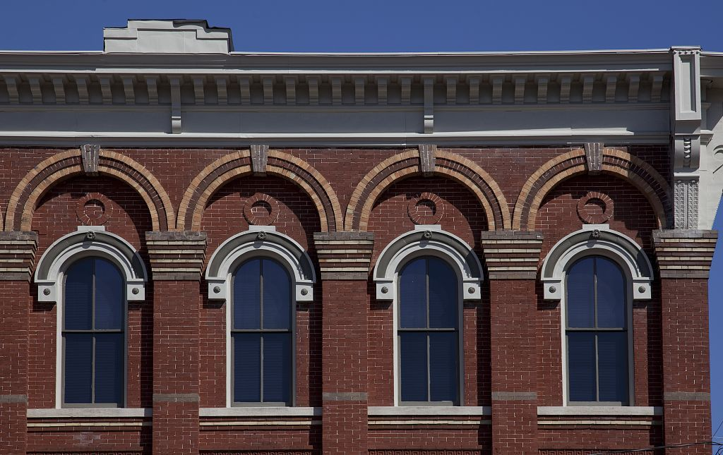 Architectural details from buildings on lower Commerce Street in Montgomery, Alabama