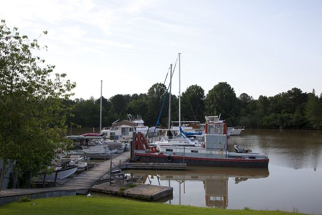Boats at a marina at the Tom Bevill Lock and Dam on the Tennessee-Tombigbee waterway, Pickensville, Alabama