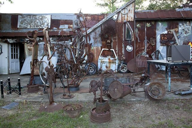 Charlie Lucas makes his art from materials that others have discarded, at his workshop in Pink Lily, Alabama