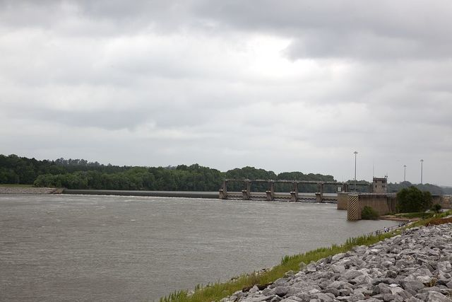Claiborne Lake stretching from the Claiborne Lock and Dam to Millers Ferry Lock and Dam, Alabama