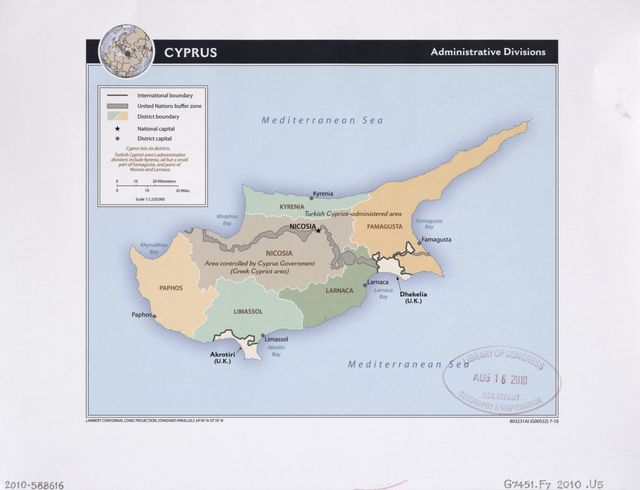 Cyprus, administrative divisions.