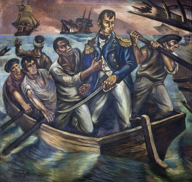 """""""Cyrus Tiffany in the Battle of Lake Erie, September 13, 1813,"""" mural by Martyl Schweig, at the Recorder of Deeds building, built in 1943. 515 D St., NW, Washington, D.C."""