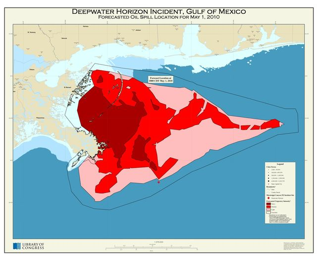 Deepwater Horizon incident, Gulf of Mexico, forecasted oil spill location for May 1, 2010 /