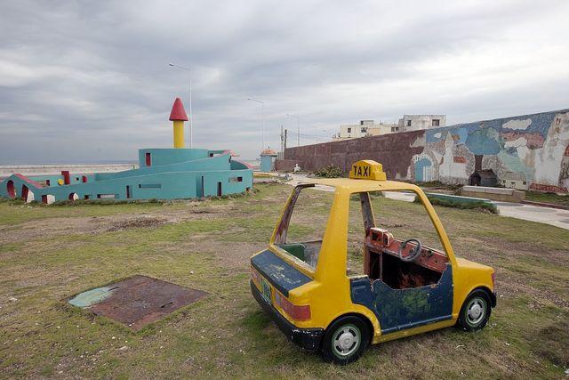 Dilapidated amusement park along the Malecón in Havana, Cuba