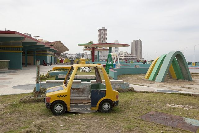 Dilapidated amusement park along the Malecón in Havana, Cuba