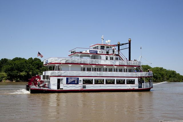 Docked beside the uniquely built Riverwalk Amphitheater, this elegant 19th century riverboat is center stage of Montgomery's entertainment district. Known as the Harriott, this riverboat cruises along the Alabama River in Montgomery, Alabama